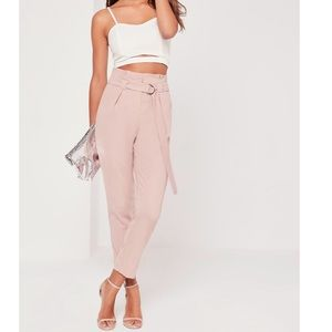 Pink Paperbag Waist Cigarette Trousers
